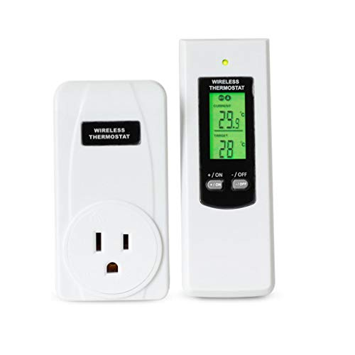 SAQIMA Remote Control Wireless RF Plug in Thermostat Hydroponic KIT Greenhouse with Memory Function Portable Controller