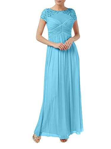 Festlichkleider Linie Rock Chiffon A Brautmutterkleider Blau Braut La Abendkleider Langes Perlen Marie wX6z7q4R