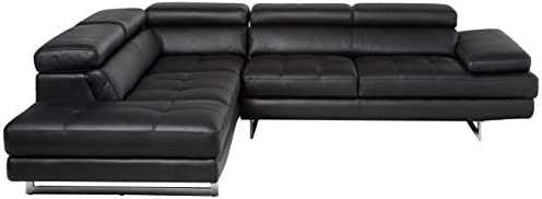 J and M Furniture A761 Italian Leather Sectional Slate Black