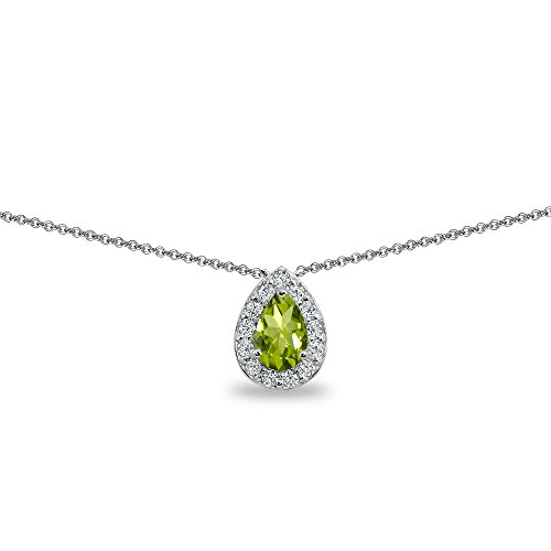 Sterling Silver Peridot Teardrop Halo Choker Necklace with CZ Accents