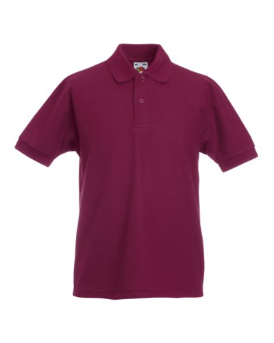 Fruit of the Loom Kinder Polo Shirt, Kurzarm 12-13 Years,Burgundy