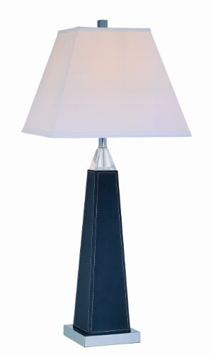 - Lite Source LS-21497 Edena Table Lamp, Black Leather And Chrome with White Fabric Shade