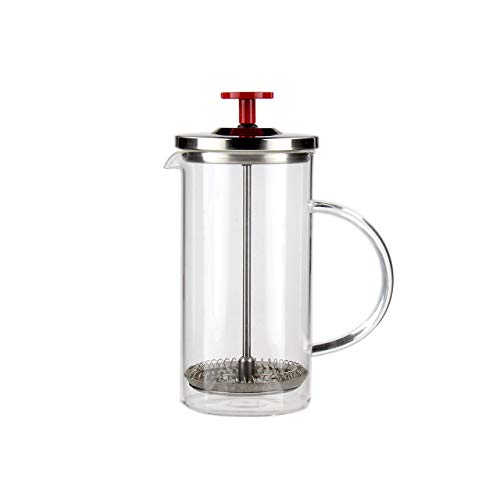 Fresh Cup French Press & Tea Infuser - Study Aid - Workspace - 12oz of Perfectly Brewed Tea or Coffee Serves 1-2 Cups - German Glass - Beaker - Handcrafted Carafe - Stainless Steel - No Plastics Used