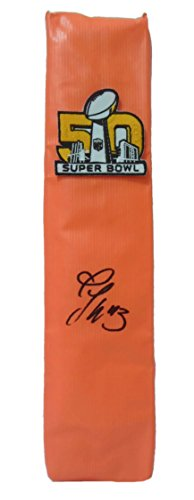 Broncos Autographed Denver Pro Football (Denver Broncos T.J. Ward Autographed Hand Signed Super Bowl 50 Full Size Logo Football Touchdown End Zone Pylon with Proof Photo of TJ Signing and COA- UO University of Oregon Ducks)