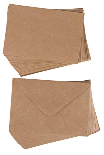 48-Pack Blank Greeting Cards - Plain Cardstock Folded Notecard, Standard Straight Corners, Envelopes Included for DIY Cards, Invitation, Birthday, Wedding, Brown, 4 x 6 Inches, Laser Printer - Card Brown Flat