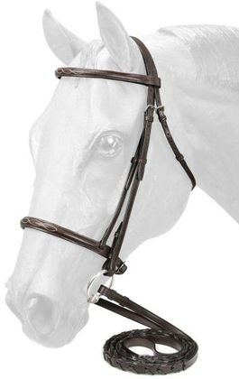 (EquiRoyal Fancy Stitched Raised Snaffle Bridle - Brown - Cob)