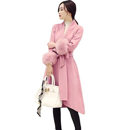 Parka Femme Fashion Automne Hiver Art Fourrure Long Manches Warm Manteau Mode Chic Slim Fit Longue Elgante Loisir Exquis Manteau De Transition Outerwear De Bonne Qualit Rose