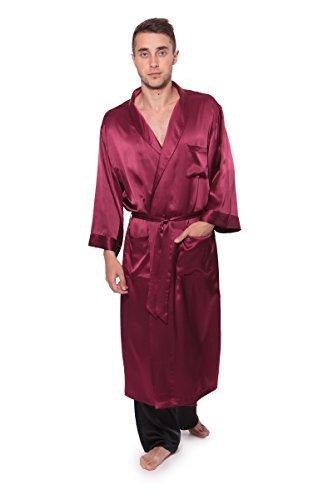 TexereSilk Men's Luxury Silk Robe Bathrobe (Burgundy, Lar...