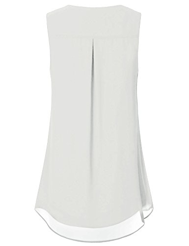 Timeson Womens Tunic Tops White, Women's White Loose Shirts Sleevelss Casual A Line Tunics Tops Chiffon Tank Tops Elegant Blouses for Business Work for Junior White Small by Timeson (Image #1)