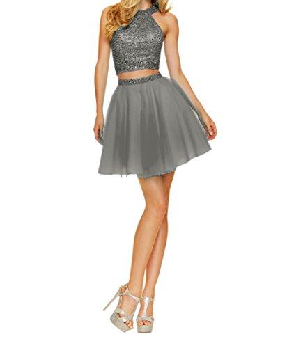 Kurzes Tanzenkleider Abendkleider Ballkleider Cocktailkleider Mini teilig Grau Charmant Zwei Damen Abiballkleider 7xqntS