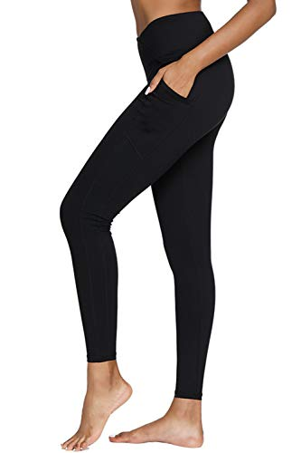 Yoga Pants,BESTENA Womens Leggings High Waist Tummy Control Workout Running Pants With Pockets(Black,Medium)