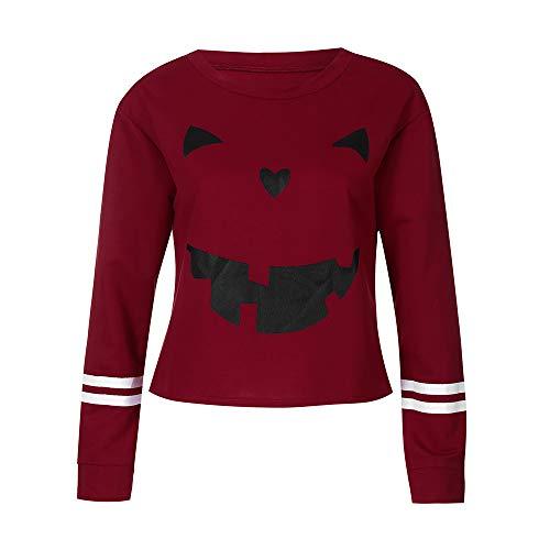 Women Tops Clearance Sale! Women's Shirt Long Sleeve Halloween Pumpkin Face Sweatshirt Blouse Crop Top