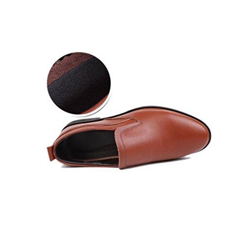 zmlsc Abbigliamento Casual Rotondo Punta Morbido Le da A Giovent Vestono Cotone con Cintura della Fibbia Fondo Formale in Scarpe Cuoio Piatto di Uomo rSqFrwz0