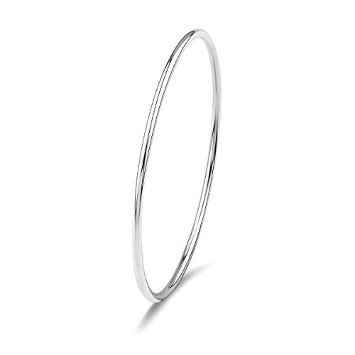 Weekly Promotion 30% Discount Merdia 925 Sterling Silver Stackable Polished Bangle Bracelet with Fresh Simple Style (Womens Silver Bangle)