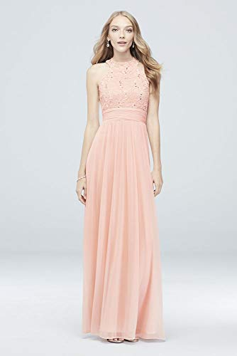 David's Bridal High-Neck Sequin Lace and Chiffon Bridesmaid Dress Style W60081, Pale Pink, 8