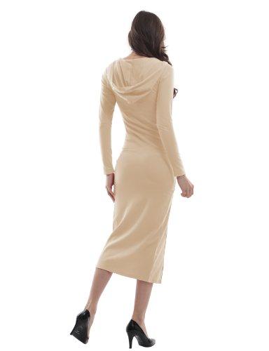 Doublju Women Sexy Leg Line 3/4 Sleeve Plus Size Dress BEIGE,XL