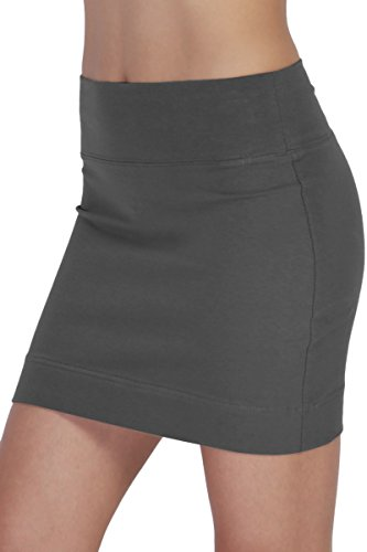 Skirt Low Rise Mini (TheMogan Women's Stretch Cotton/Span High Waist Banded Tube Mini Skirt Dark Grey S)