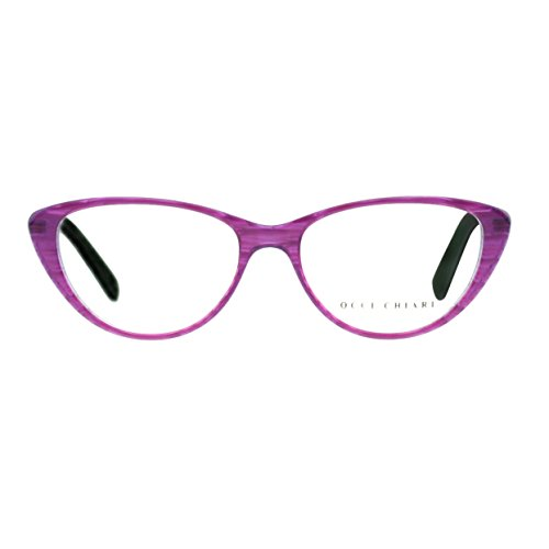 OCCI CHIARI Vintage Women Cat Eyeglasses Frame With Clear Lenses Ambar (Purple, - Glasses Eye Cat Prescription Large