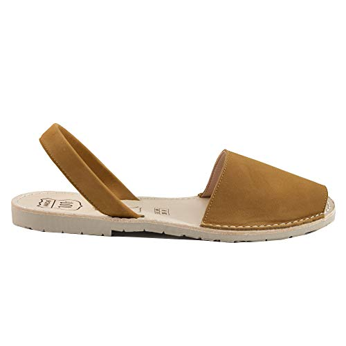Avarcas Sandals for Women - Handmade in Spain with Natural Leather- Slip on/Slingback Flats (Camel, Size 11)