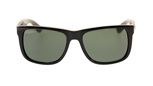 Ray Ban Justin Mens Sunglasses RB4165 601/71 Black With Green 55mm Authentic ()