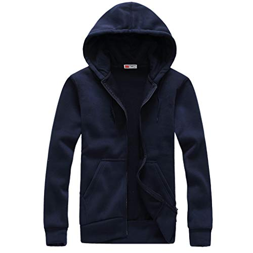 LOOKAA Shirts Men Long Sleeved Hooded Cardigan Sweater Tops Blouse Coat Sweatshirt (Best Shark Steam Mop 2019)