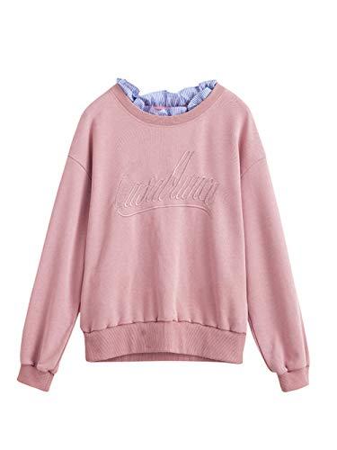 Suelto Sdf Cuello Casual Bordado Manual Suéter Sweatshirt Costura Mujeres Camisa Sudaderas 2018 Raya Manga Otoño Encaje Rosado Larga zvwUzqgPr