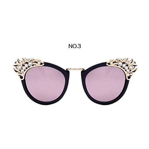 FASGION Luxury Rhinestone Diamond Sunglasses Women Europe Style Eyeglasses Fashion Models Glasses Personality Cat Eye Sunglass (Color : NO ()