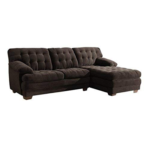 Home Elegance 9739CH Channel-Tufted 2 Piece Textured Plush Microfiber Sectional Sofa Set, Chocolate Brown