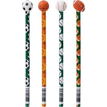 Fun Express Wooden Sports Pencils with Ball Eraser 12 Pack ()