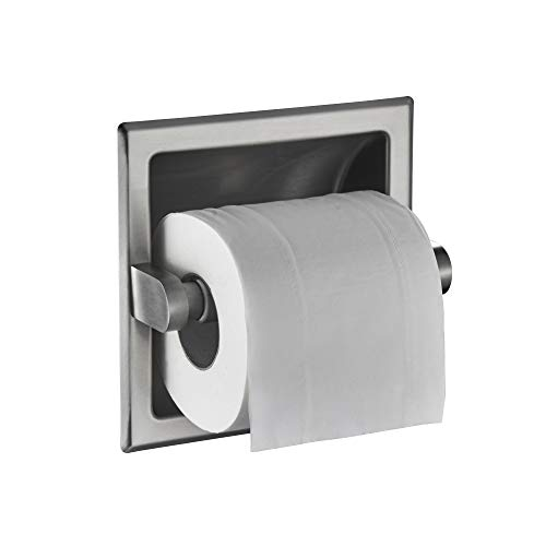 JunSun Brushed Nickel Recessed Toilet Paper Holder Tissue Paper Roll Holder All Stainless Steel Construction - Rear Mounting Bracket Included by JunSun (Image #3)