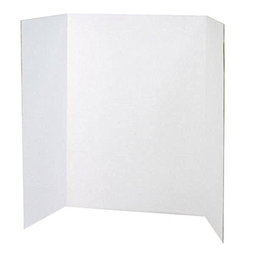TableTop King 3763 Spotlight 24'' x 36'' White Tri-Fold Corrugated Presentation Display Board - 24/Case