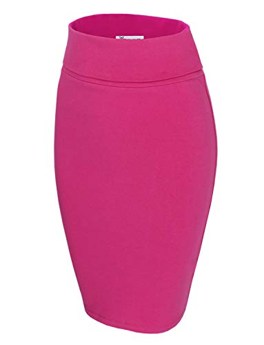 TAM WARE Womens Casual Convertible Knee Length Pencil Skirt TWCWS02-PINK-US - Pink Cotton Skirt