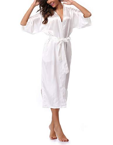 VOGTORY Women's Satin Robes Pure Color Long Kimono Bathrobes Soft Nightgown White