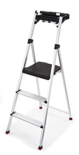 Rubbermaid RMA-3T 3-Step Lightweight Aluminum Step Stool with Project Tray, 225-pound Capacity