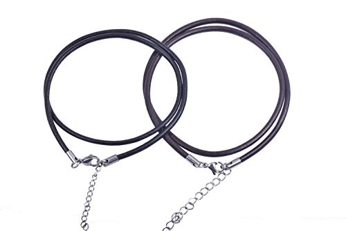 KONMAY 20pcs Bulk 18'' Mixed 3.0mm Real Leather Necklace Cord with 304L Stainless Steel Clasps, Caps and Extension Chain for Both Men and Women