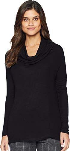 (Jack by BB Dakota Junior's Early Riser Rib Knit Cowl Top with Boat Neck, Black, Small)