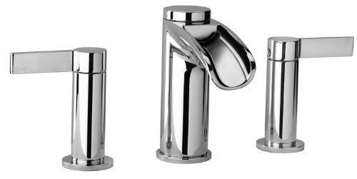 (J10 Bath Series Two Lever Handle Widespread Bathroom Faucet with Waterfall Spout by Jewel)