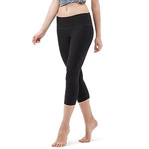 """TM-FYC31-BLK_Medium Tesla Yoga 21""""Capri Mid-Waist Pants w Hidden Pocket FYC31"""