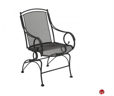 Grid Outdoor Wrought Iron Movement Dining Arm Chair