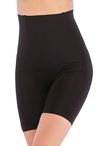 91c0e452ae9bf FIRSTLIKE Women s High Waist Control Panties Seamless Shapewear Thigh  Slimmer Boyshort Breathable Slip Shaper Black
