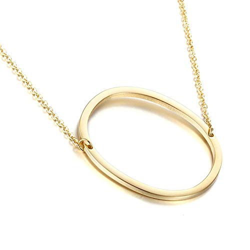 MOMOL Sideways Initial Necklace 18K Gold Plated Stainless Steel Large Big Letter O Pendant Necklace Script Name Monogram Necklaces for Women (O)