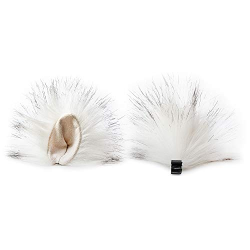 Animears Realistic Clip-On Faux Fur Animal Ears Handmade Clip-on Animal Ears | Soft and Fluffy Animal Ear Costume (White) -