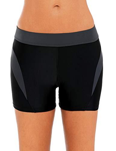 CharmLeaks Women Colorblock Boardshorts Beach Swim Shorts Black siwm Bottoms -
