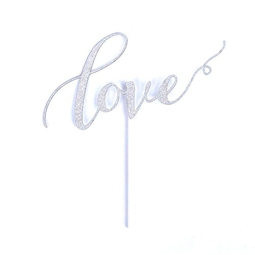 Love Cake Topper Handmade Decoration Paper Silver Glitter for Wedding Engagement Birthday Party (silver)