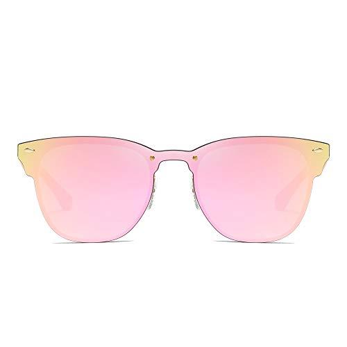 Una Borde Con Marco Sol Metal de Espejo Hombre Sin Pieza Mujer Espejo Anteojos Rosa Dorado Cuerno Gafas XFw1nRq