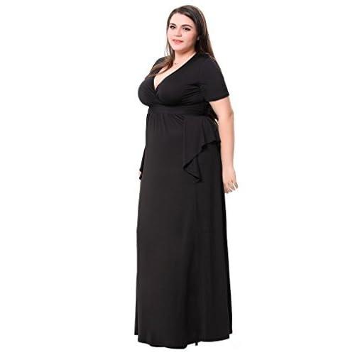 3c239b11749 hot sale Sapphyra Women s Low V Neck Embellished Waist Plus Size Casual  Maxi Dress