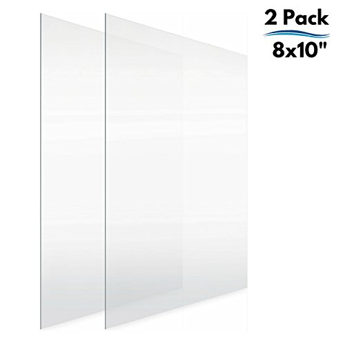 Icona Bay 8x10 Picture Frame Glass Replacement PET (8 x 10, 2 Pack) PET is Ideal Replacement Glass Material, Avoid Glass Shattering, Your Superior Replacement Picture Frame Glass Has ()