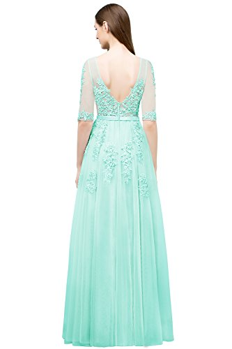 Mint Grün Elegant Maxilang Spitze Gr Tüll 46 Rückenfrei Brautjungfernkleid Ballkleid Abendkleid Applique Damen 32 fCqnx7gWg