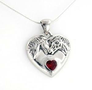 "Genuine Garnet Horse Heart Sterling Silver Pendant, 16"" Snake Chain Necklace"