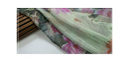 (Floral Chiffon Green Chiffon Fabric for Thin Dress Sewing Material for 0.27Yds/1Pcstj8614,7,0.25 Meters)